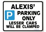 ALEXIS' Personalised Parking Sign Gift | Unique Car Present for Her |  Size Large - Metal faced